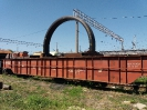 Прием железнодорожного транспортёра колодцевого типа с крупногабаритным грузом на ст. Кряж Куйбышевской ЖД